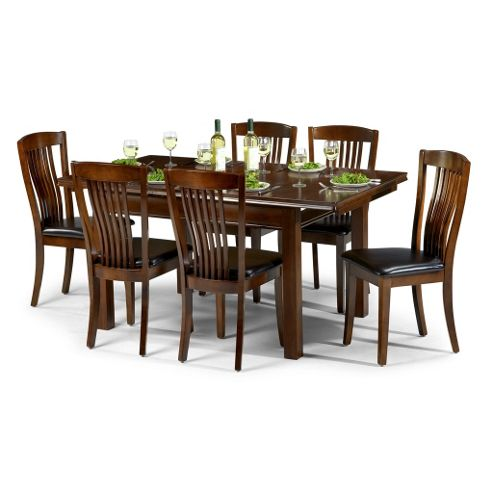 Mahogany Finish Extending Dining Table Set - Table + 6 Chairs