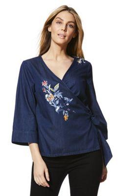 F&F Chambray Kimono Wrap Top Denim 8