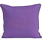 Homescapes Cotton Plain Purple Scatter Cushion, 45 x 45 cm