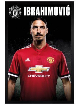 Manchester United FC Black Wooden Framed Zlatan Stand 17-18 Poster