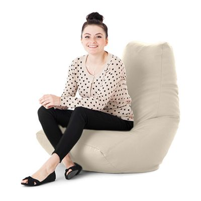 Cream Faux Leather Bean Bag Gaming Chair