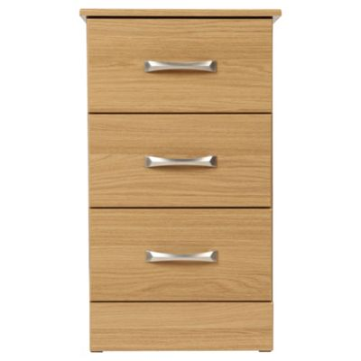 Tenby 3 Drawer Bedside Table, Oak Effect