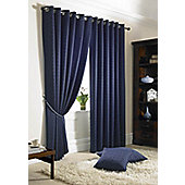 Alan Symonds Madison Navy Eyelet Curtains - 90x108 Inches (229x274cm)