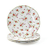 Set of 4 Red Rose Fine Bone China Tea Plates