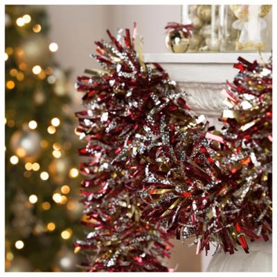 Festive Red, Gold & Silver Mixed Chunky Christmas Tinsel, 2m