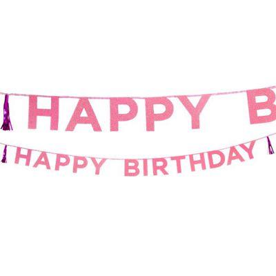 Happy Birthday Pink Glitter Letter Banner - 3m