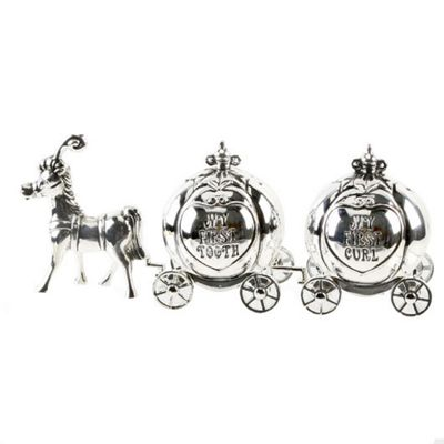 Silverplated Cinderella Carriage First Curl & Tooth