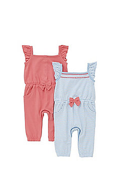F&F 2 Pack of Jersey Jumpsuits - Blue & Pink