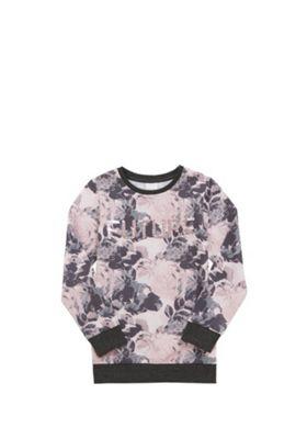 F&F Two-Way Sequin Slogan Sweatshirt Pink/Grey 8-9 years