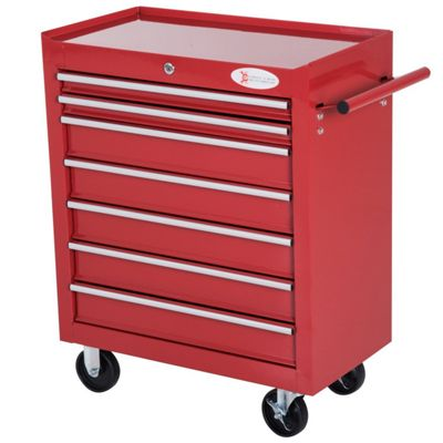 Durhand Roller Tool Cabinet Storage Chest Box 7 Drawers Roll Wheels Garage Workshop - Red