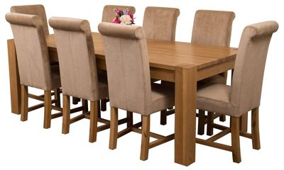 Kuba Chunky 220cm Kitchen Solid Oak Dining Set Table & 8 Beige Fabric Chairs