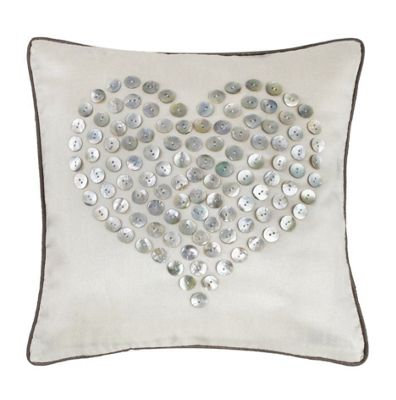 Beautiful Ivory Cushion with Mother of Pearl Button Heart