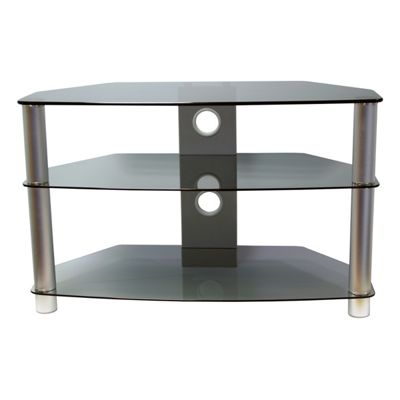 Vivanco BRISA 1000mm Smoked Glass AV Rack with Silver Legs