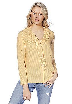 F&F Striped Ruffle Blouse - Yellow & White