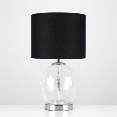 MiniSun Pablo Frosted Crackle Glass Globe LED Touch Table Lamp - Chrome & Black