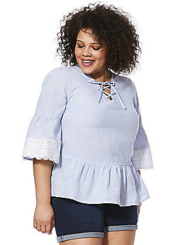 Simply Be Striped Lace-Up Plus Size Blouse - Multi Blue