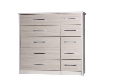 Alto Furniture Avola 10 Drawer Double Chest - Cream Carcass With Champagne Avola