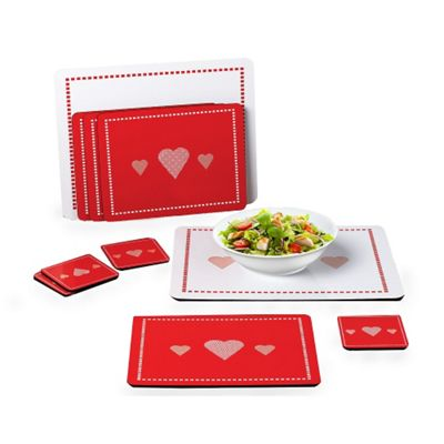 10 Piece Heart Red/White Placemat Set