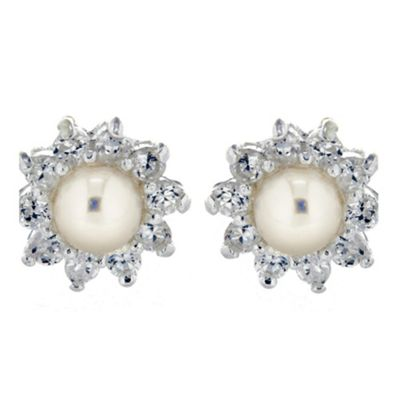 Sterling Silver Pearl & Cz Cluster Studs