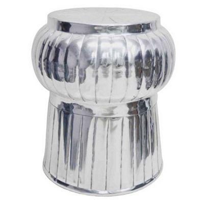 Homescapes Elegant Designer Solid Metal Silver Footstool, MOROCCAN 43 cm High