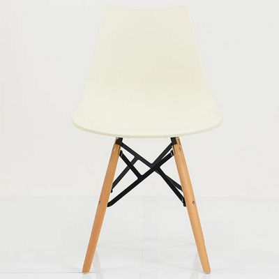 Bergen Vanilla Plastic Dining Chair Beech Leg