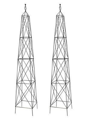 Pair of Parisian Steel Garden Obelisks (2.1m)