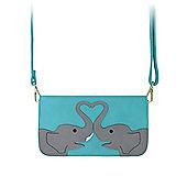 Women's Elephant Love Leather Shoulder Bag Turquoise 23x13x3.5cm