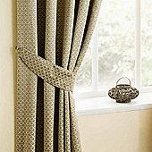 Homescapes Natural Beige Diamond Design Curtain Tiebacks Pair