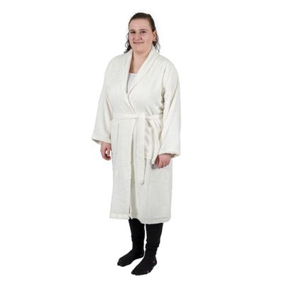 Homescapes Cream 100% Egyptian Combed Cotton Adults Bathrobe with Shawl Collar, Small/Medium