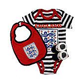 England Football Baby Gift Set, Bodysuit, Booties & Bib - Navy Stripe - Navy & White