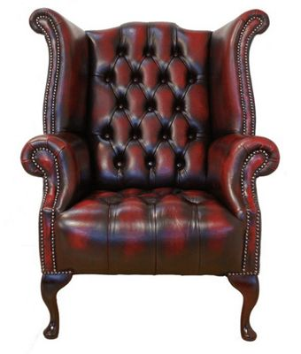 Chesterfield Buttoned Seat Queen Anne High Back Wing Chair - Antique Oxblood