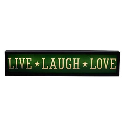 Bahne Light Box LED format Live Laugh Love in Green