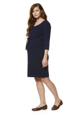Mamalicious Textured Jersey Maternity Dress Navy M
