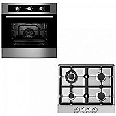 Oven & Hob Pack COF600SS GH609SS | Cookology 60cm Built-in Electric Fan Oven & Gas Hob Pack in Stainless Steel