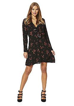 Vero Moda Floral Print Ruffle Wrap Effect Dress - Black