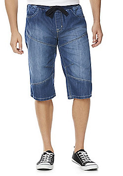 F&F Rib Waist Denim Shorts - Mid wash