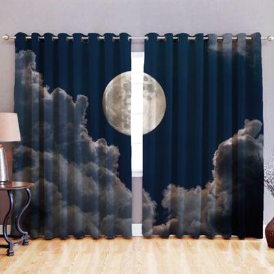 Moonlight 3D Print Blackout Fabric Eyelet Curtains 52