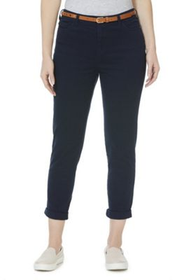 F&F Mid Rise Skinny Trousers with Belt Navy 18