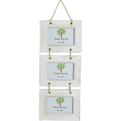 Nicola Spring Triple White Wooden 3 Photo Hanging Picture Frame - 6 x 4