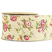 Rose Ribbon Wired Edge 7cm x 10 yards