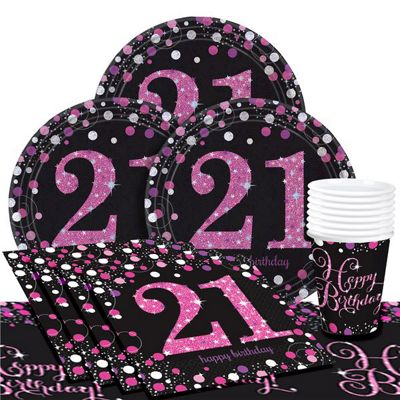 Pink Celebration 21st Birthday Party Pack - Value Party for 8