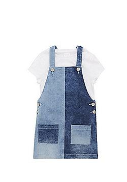 F&F T-Shirt and Denim Pinafore Dress Set - Blue