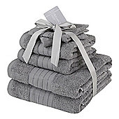 Dreamscene Luxury Egyptian Cotton 6 Piece Bath Towel Set - Grey