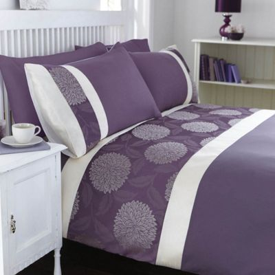 Catherine Lansfield Home Mei King Size Bed Duvet Cover Set Purple