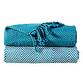 EHC Pack Of 2 Cotton Chevron Throw, Teal