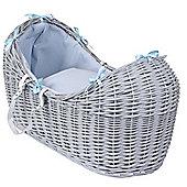 Clair de Lune Grey Noah Pod Moses Basket (Waffle Blue)