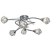 6-Arm Chrome Ceiling Light with Modern Design and Metal Cage Shades