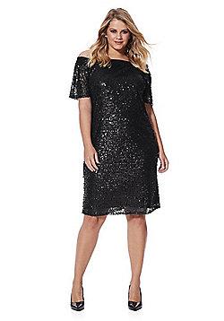 Lovedrobe Sequin Bardot Plus Size Dress - Black