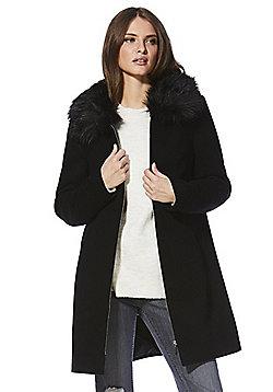 F&F Faux Fur Collar Dolly Coat - Black