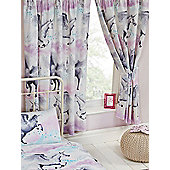 """Stardust Unicorn Lined Curtains 72"""" - Purple and Teal"""